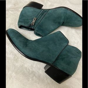 Sam Edelman forest Green suede ankle leather booti